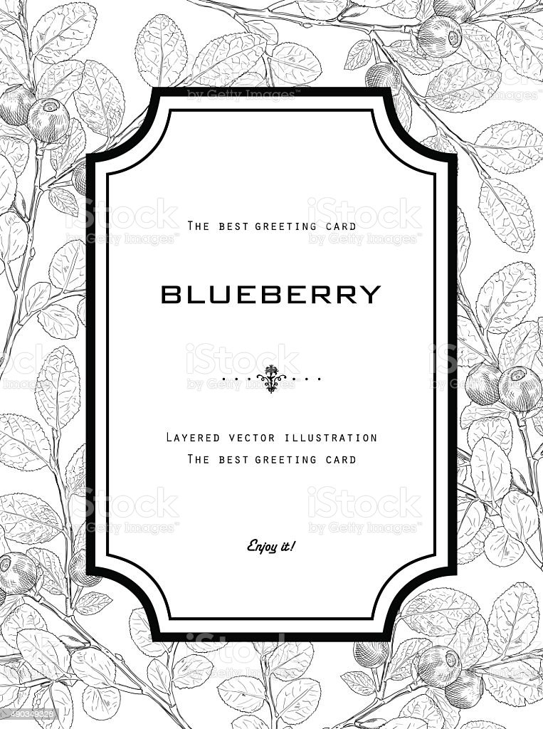 Vintage Greeting Card with Blueberry with Leafs. vector art illustration