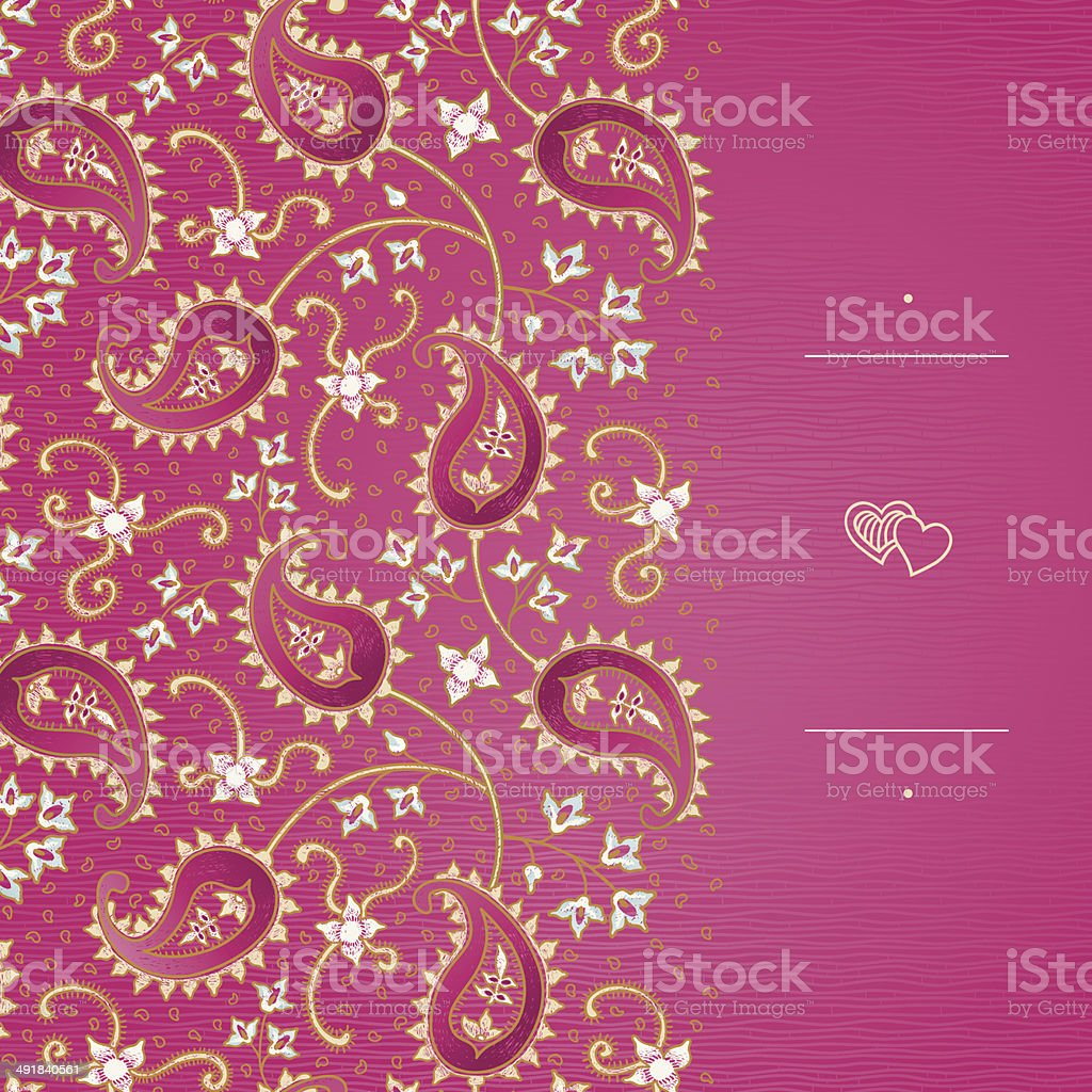 Vintage greeting card with floral motifs in east style. royalty-free stock vector art