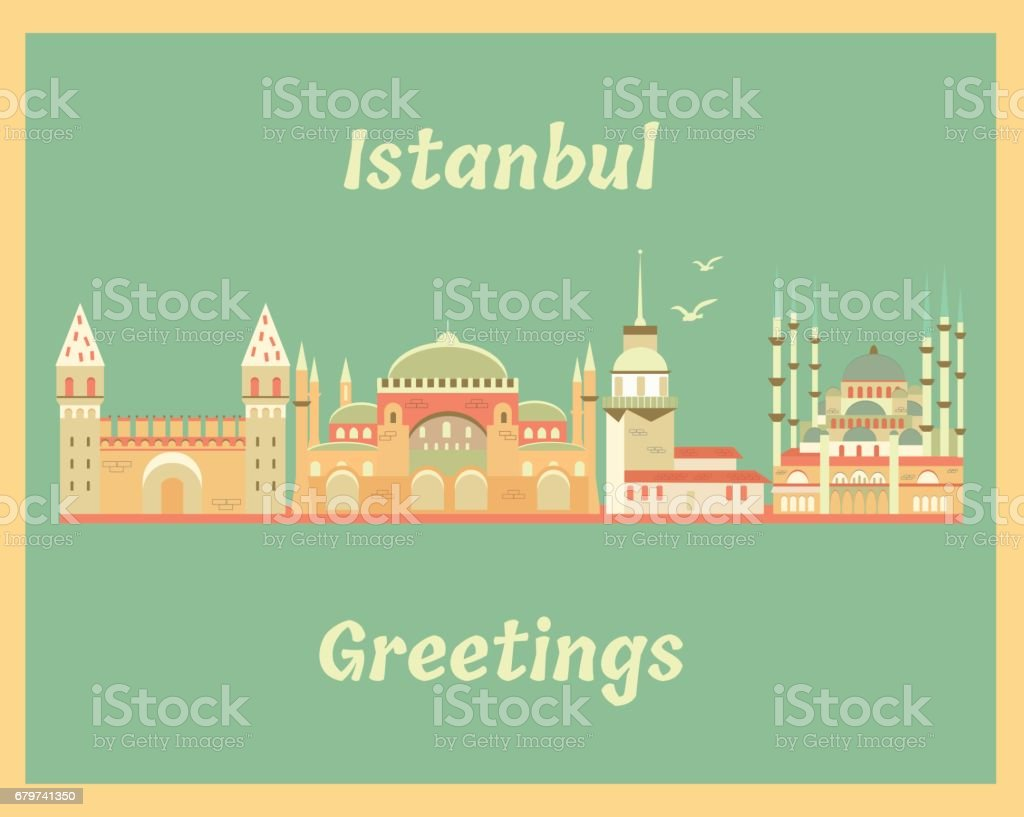 Vintage greeting card with Istanbul landmarks vector art illustration