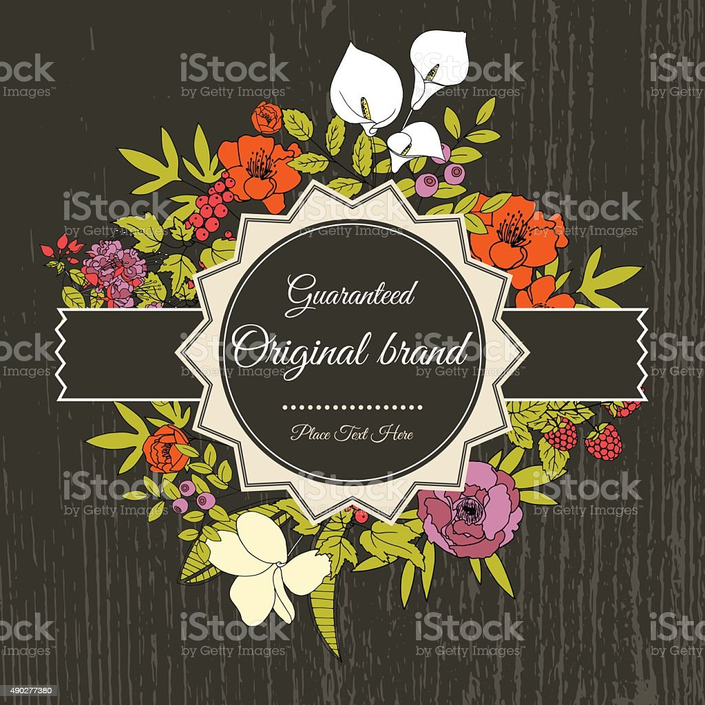 Vintage greeting vector card with flowers and berries. vector art illustration