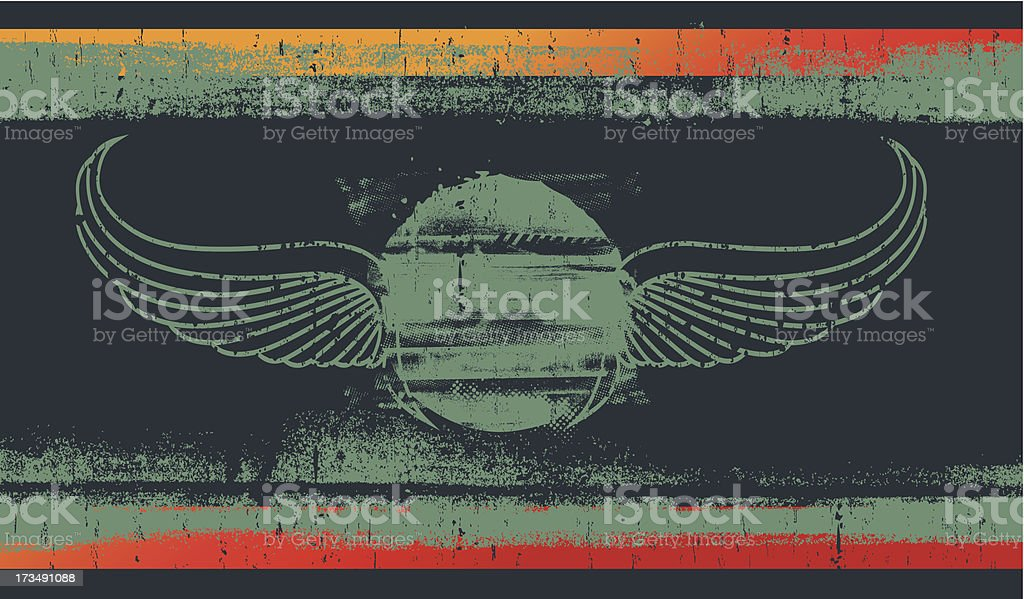 vintage grunge shield with wings royalty-free stock vector art