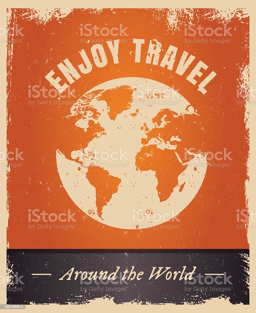 Vintage grunge travelling logo template with earth vector art illustration