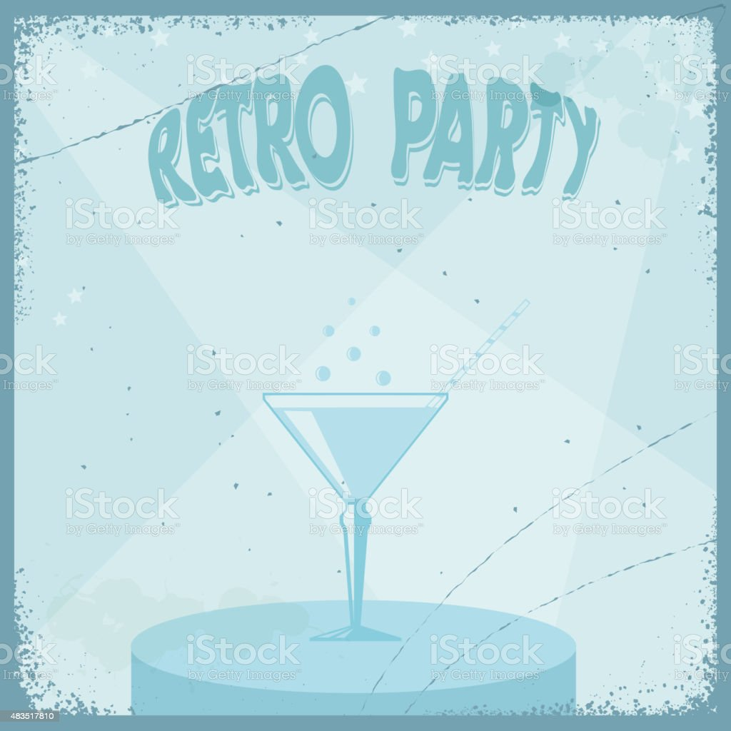 Vintage grungy retro background with a martini glass. Vector vector art illustration