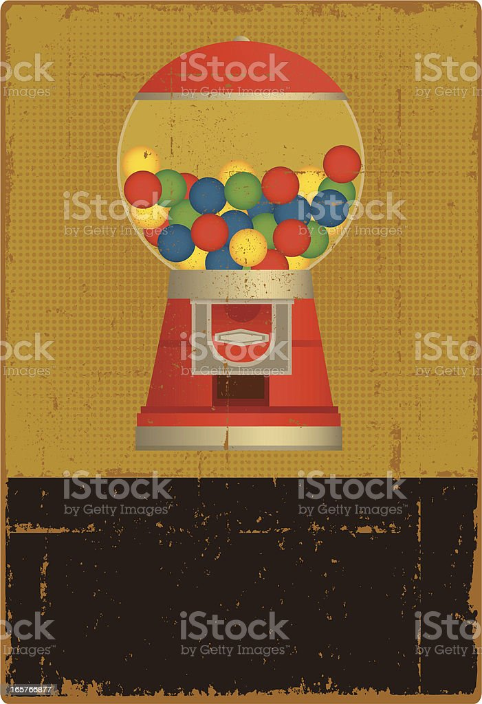 Vintage Gumball Machine Sign - Copy Space vector art illustration