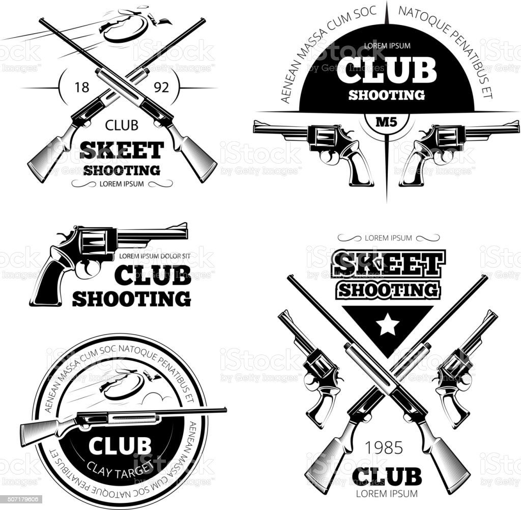 Vintage gun club vector labels, logos, emblems set vector art illustration