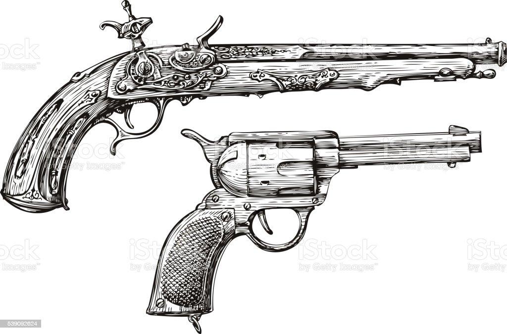 Vintage Gun. Retro Pistol, Musket. Hand-drawn sketch of a vector art illustration