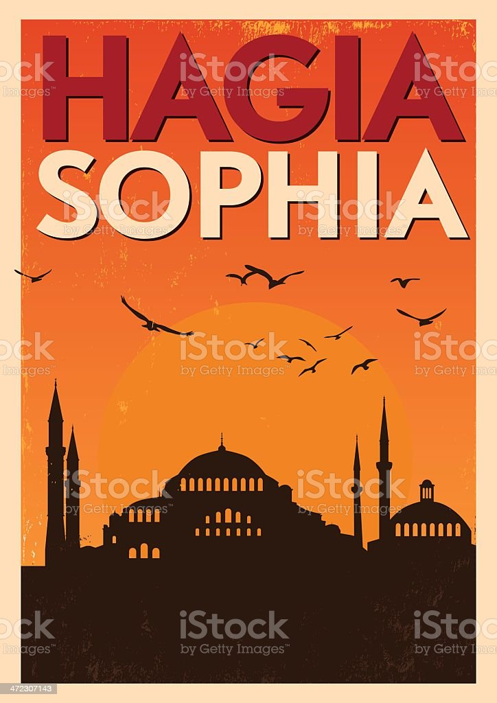 Vintage Hagia Sophia Poster vector art illustration