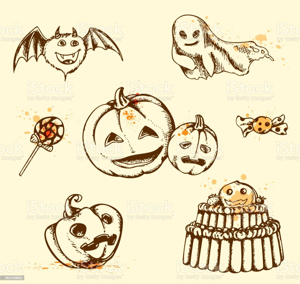 Vintage Halloween elements royalty-free stock vector art