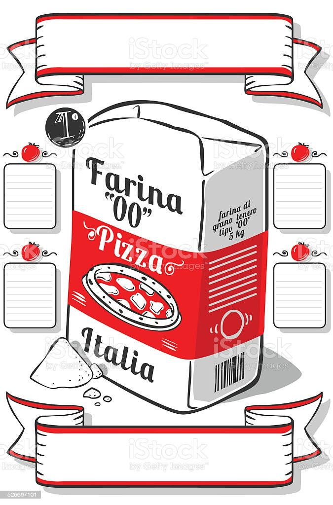 Vintage Hand Drawn Advertising Flour Pizza Page vector art illustration