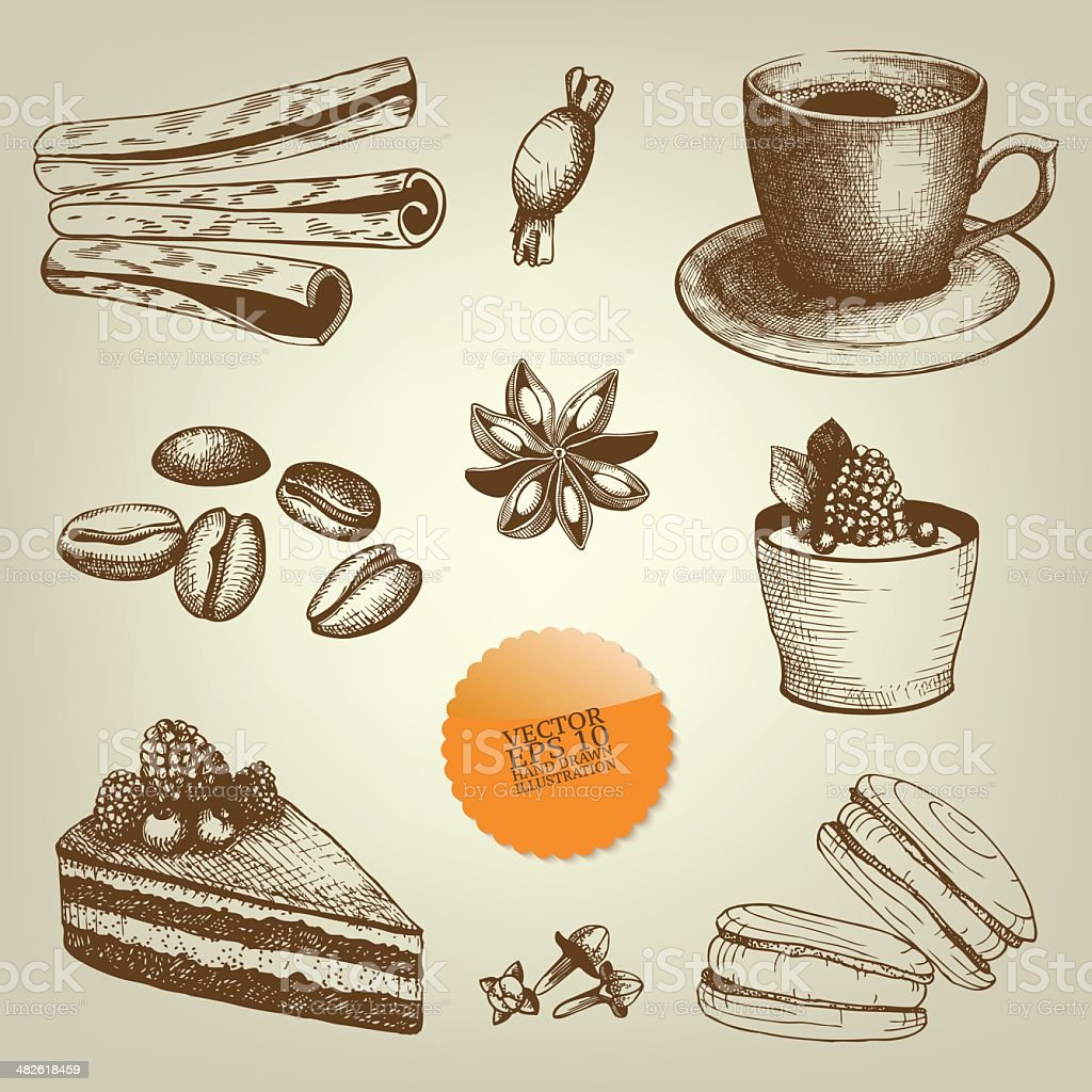 vintage hand drawn coffee and dessert illustrations vector art illustration