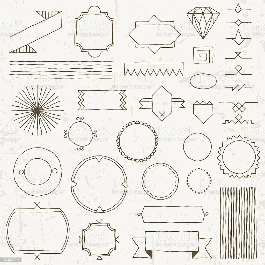 Vintage hand drawn design elements set 4. Vector illustration. vector art illustration