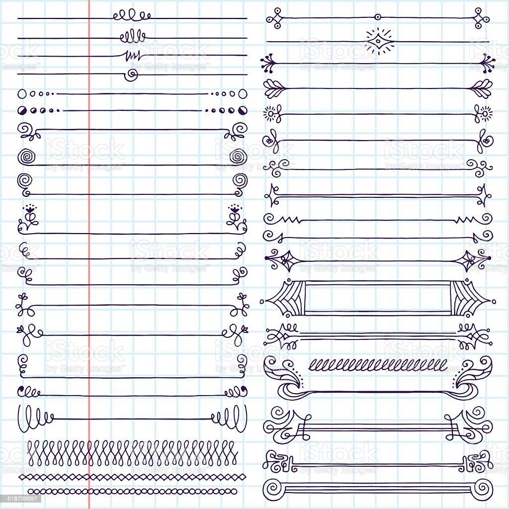 Vintage hand drawn design elements set 7. School notebook. vector art illustration