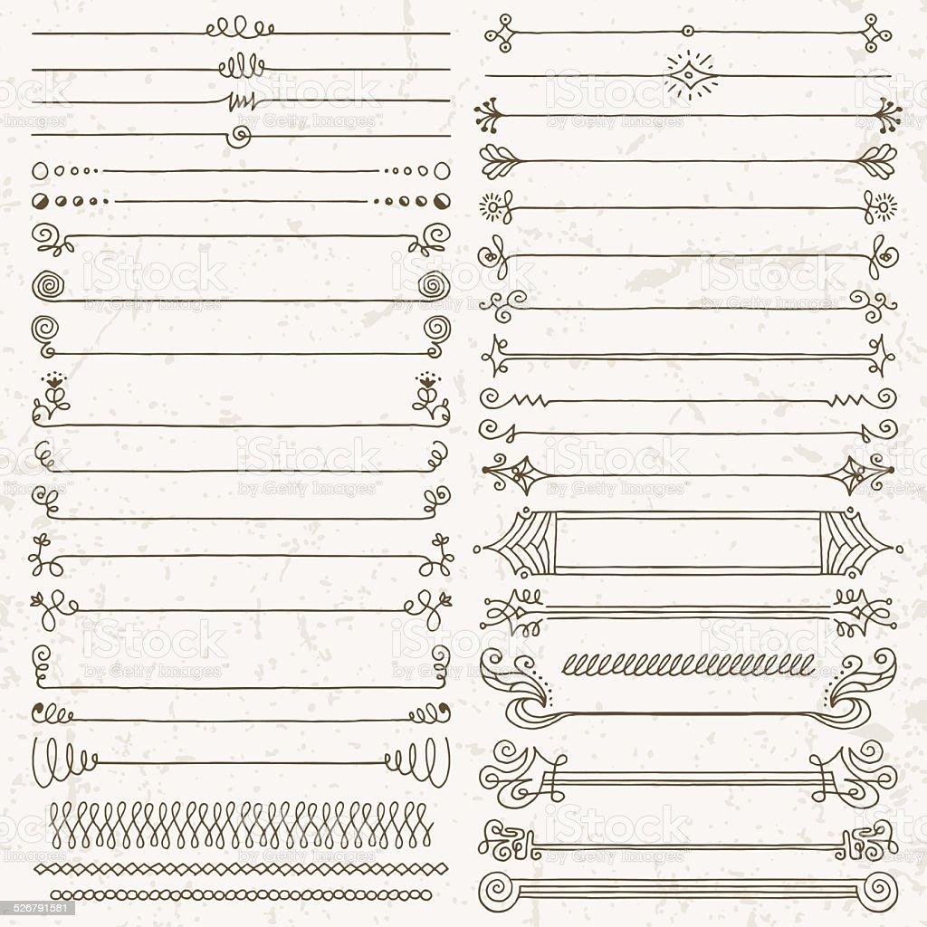Vintage hand drawn design elements set 7. Vector illustration. vector art illustration