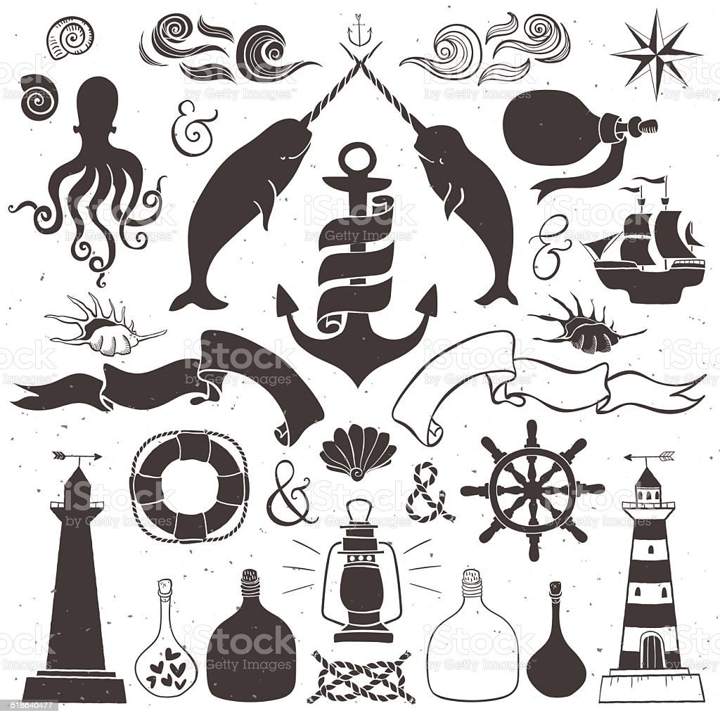 Vintage hand drawn elements in nautical style. vector art illustration