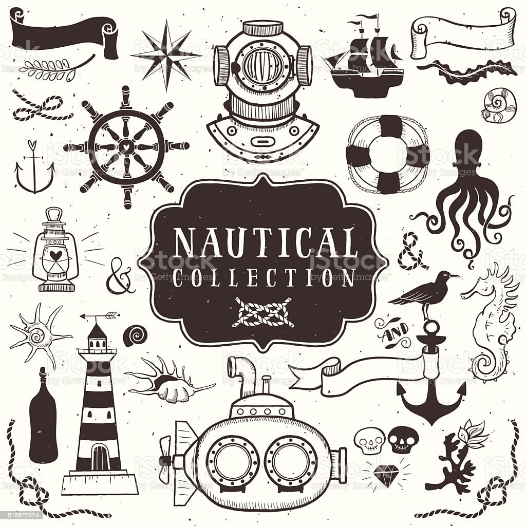Vintage hand drawn elements in nautical style. Vol.1 vector art illustration