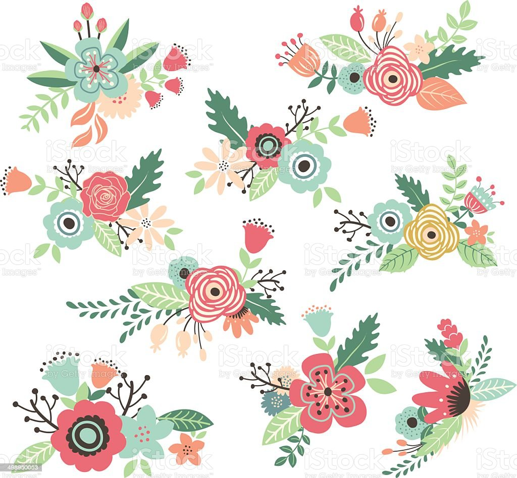 Vintage Hand Drawn Flowers Set Illustration stock vector ...