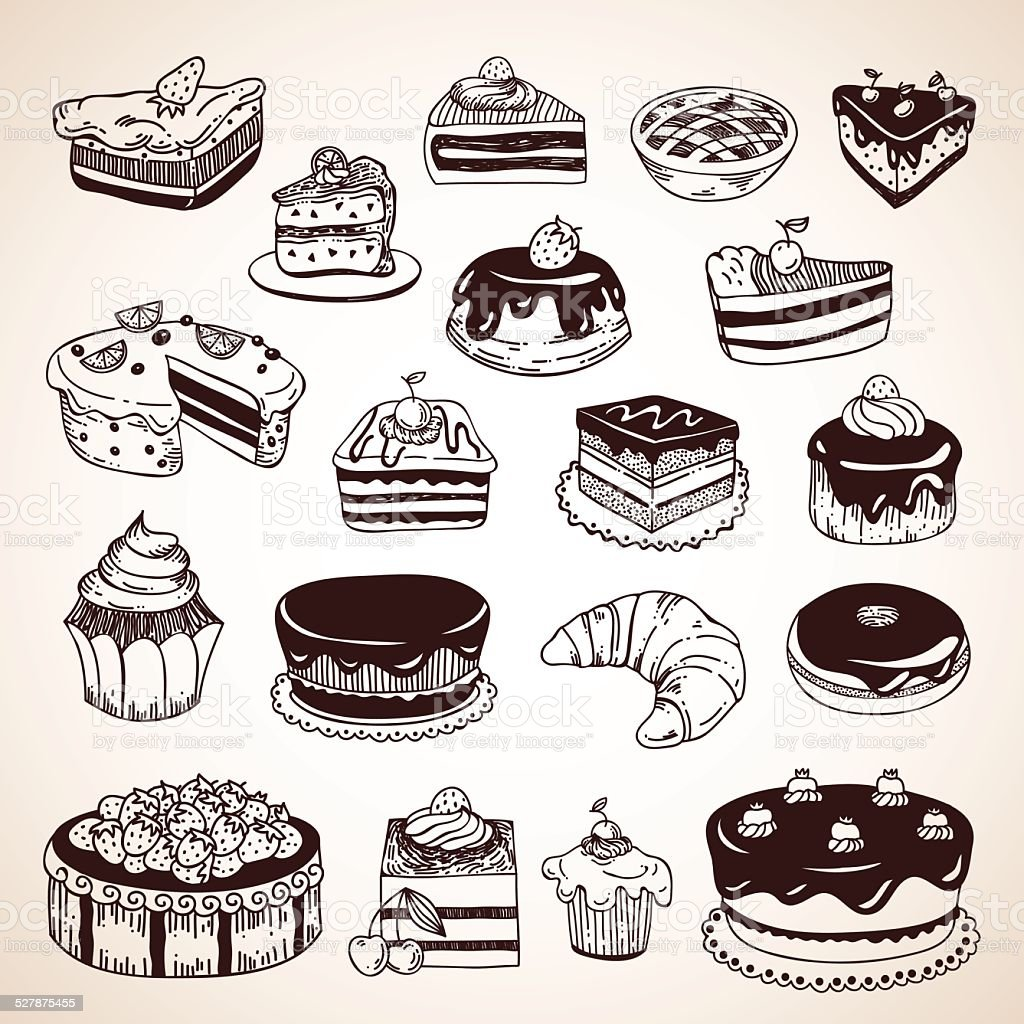 Vintage hand drawn pastry: cakes, donuts, pies, croissant vector art illustration