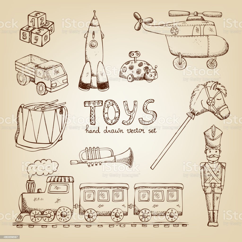 vintage hand drawn toys vector art illustration