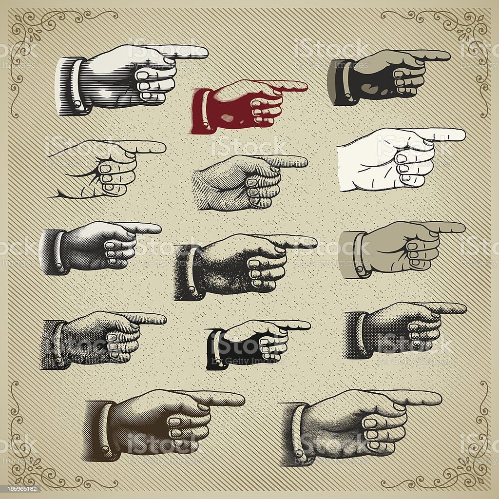 Vintage Hand Pointing vector art illustration