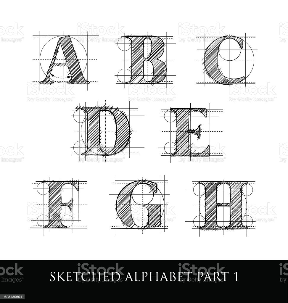 Vintage hand sketched serif letters with guidelines vector art illustration