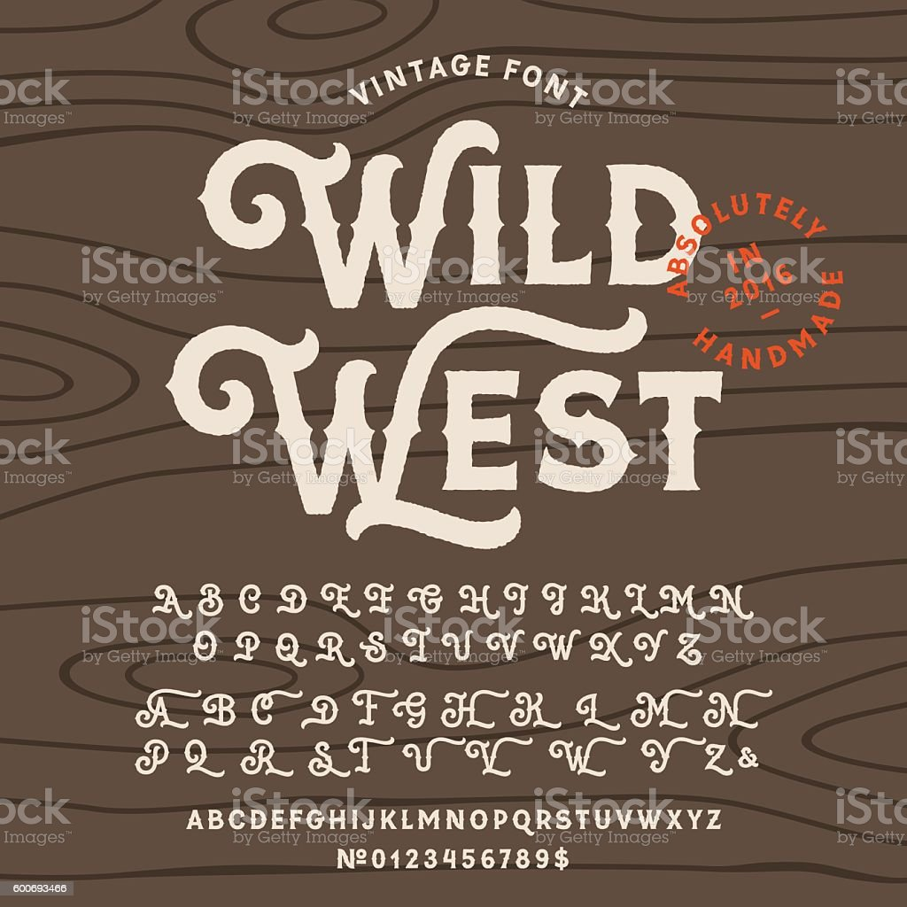 Vintage handcrafted font in western style vector art illustration