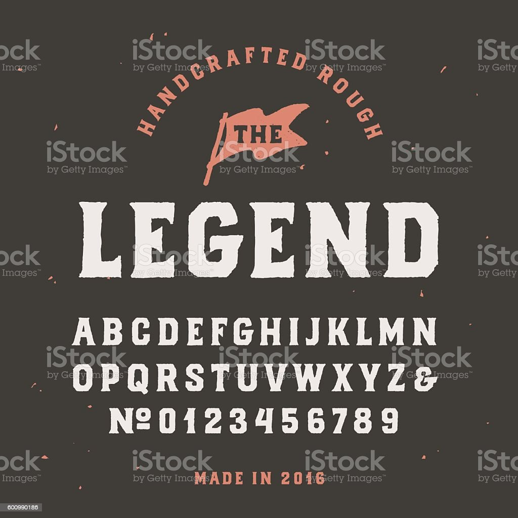Vintage handcrafted serif font in traditional american style vector art illustration