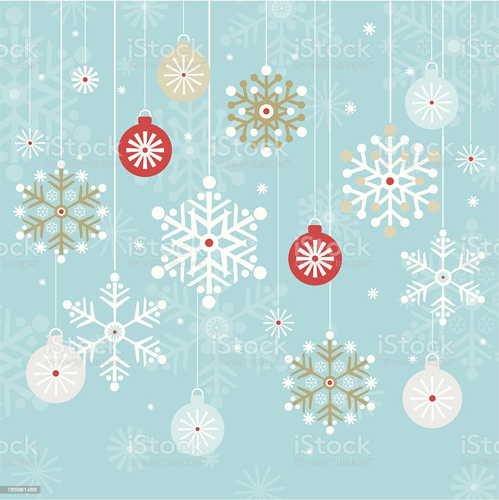 Vintage Hanging Christmas Baubles and Snowflakes Background royalty-free stock vector art