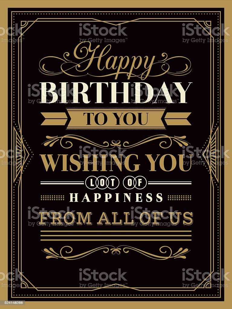 Vintage Happy Birthday card template vector art illustration