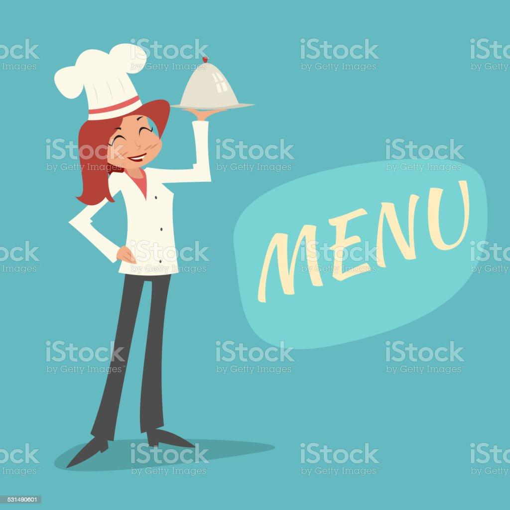 Vintage Happy Smiling Female Chief Cook Girl Serving Dish Symbol vector art illustration