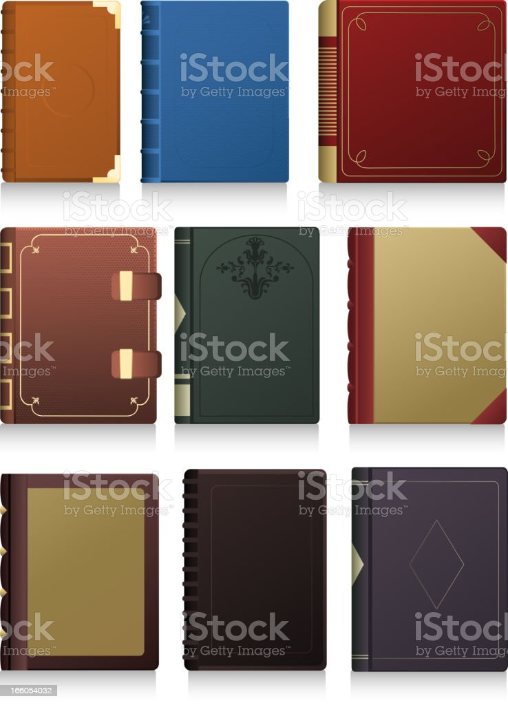 Vintage Hard cover Book in blank icon set vector art illustration