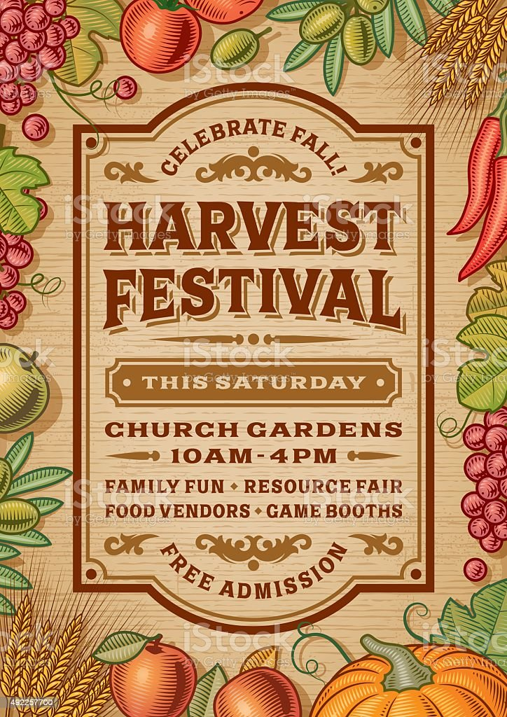 Vintage Harvest Festival Poster vector art illustration