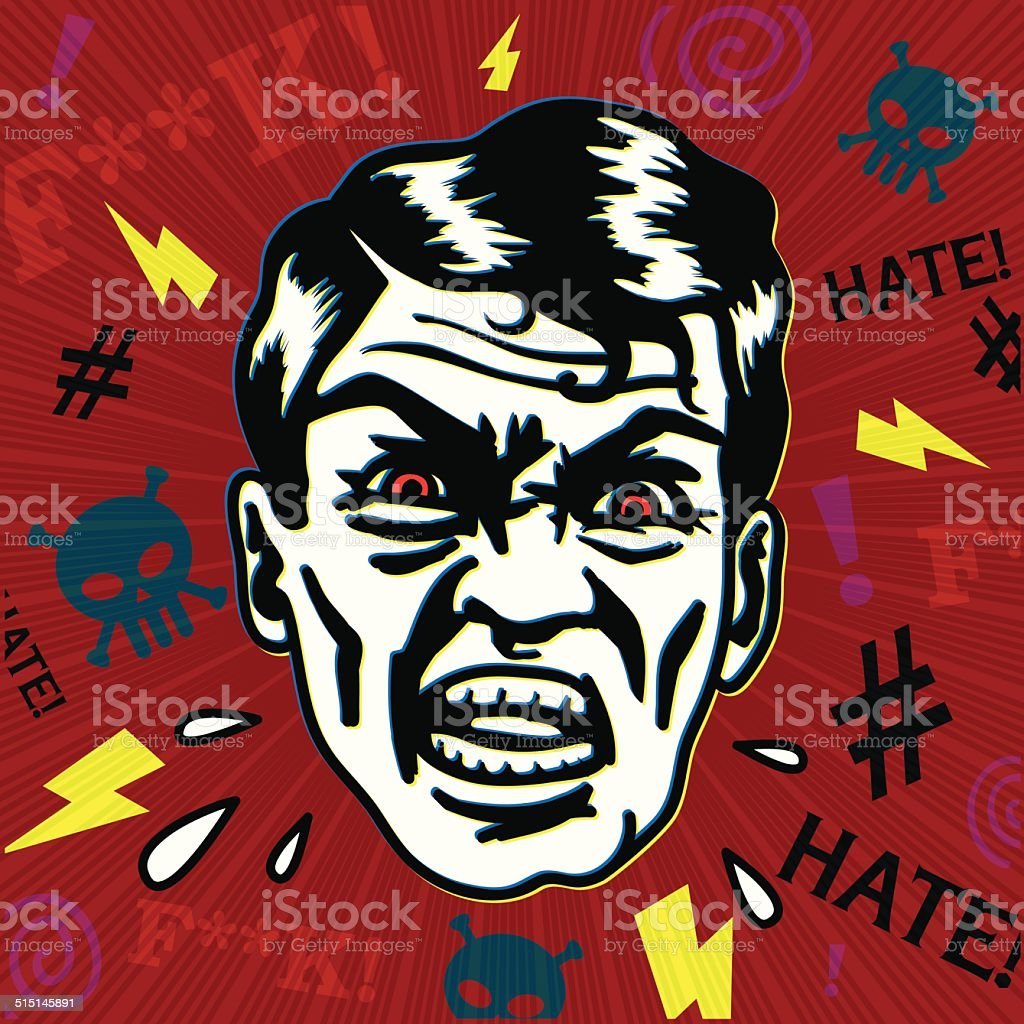 Vintage hater man with angry face swearing and yelling vector art illustration