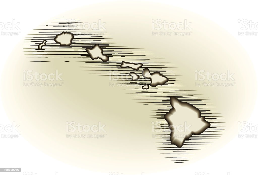 vintage hawaii map vector art illustration