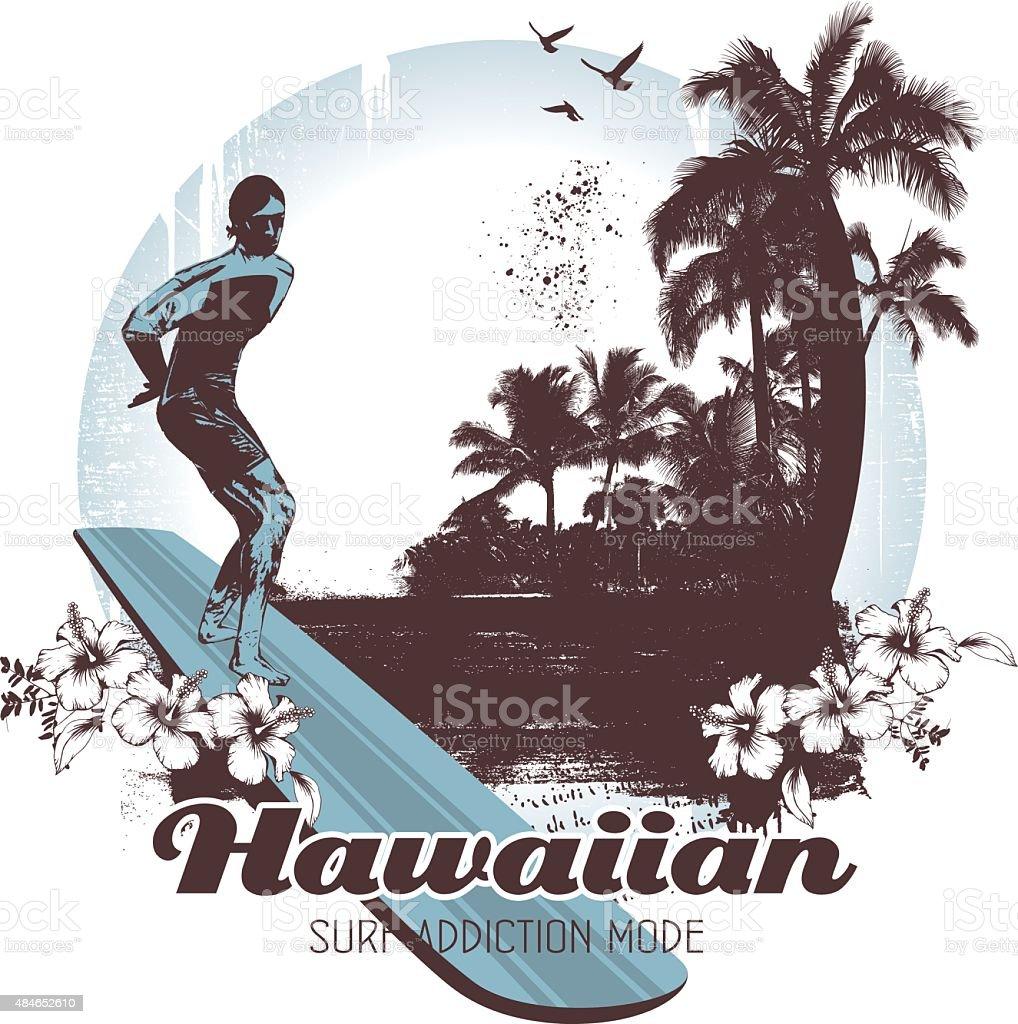 vintage hawaiian surf scene with surf rider vector art illustration