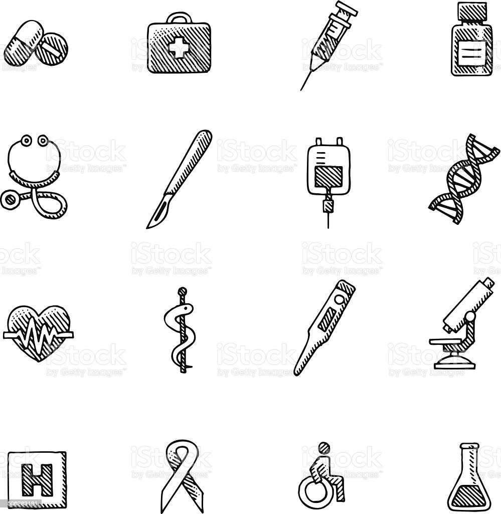 Vintage Healthcare and Medicine icons vector art illustration