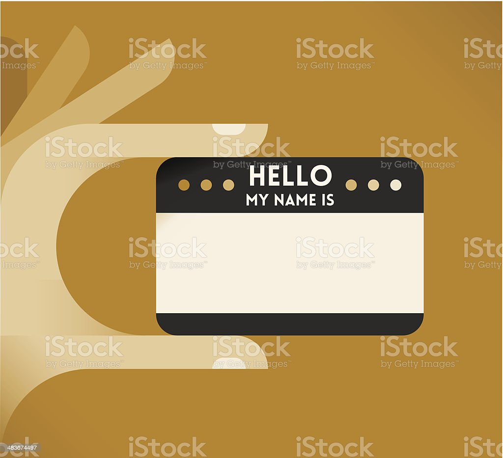 Vintage 'Hello, my name is' card vector art illustration