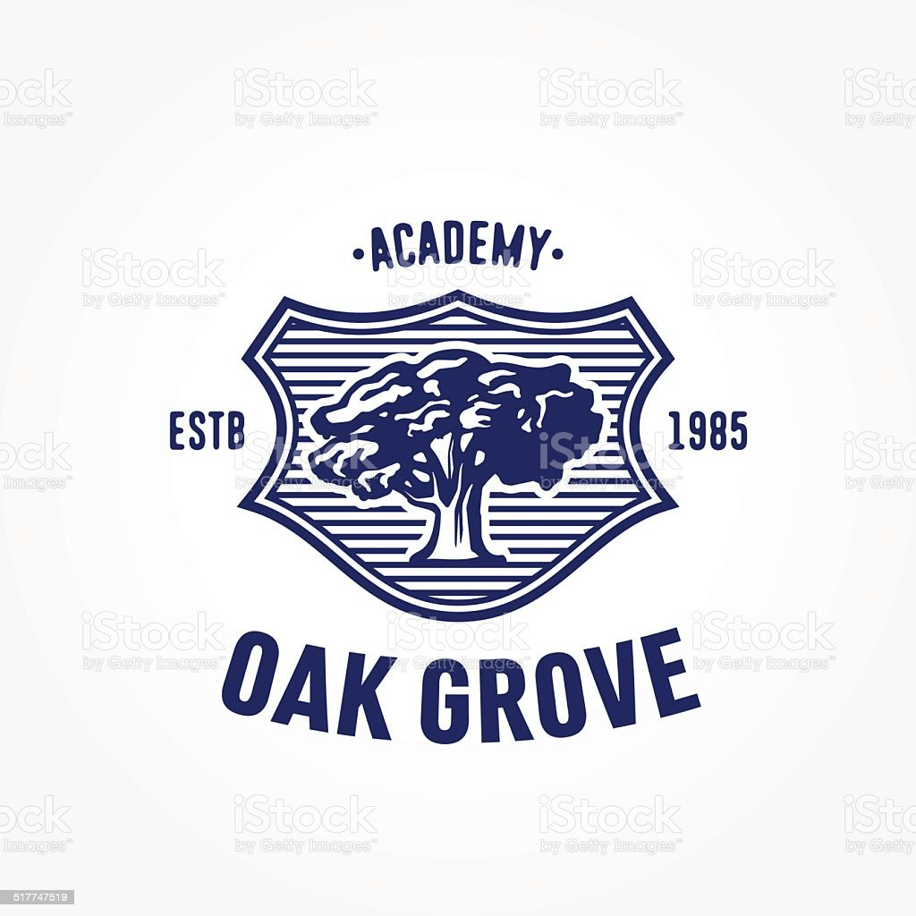 Vintage Heraldry Symbol, badge design, with old mighty tree oak vector art illustration