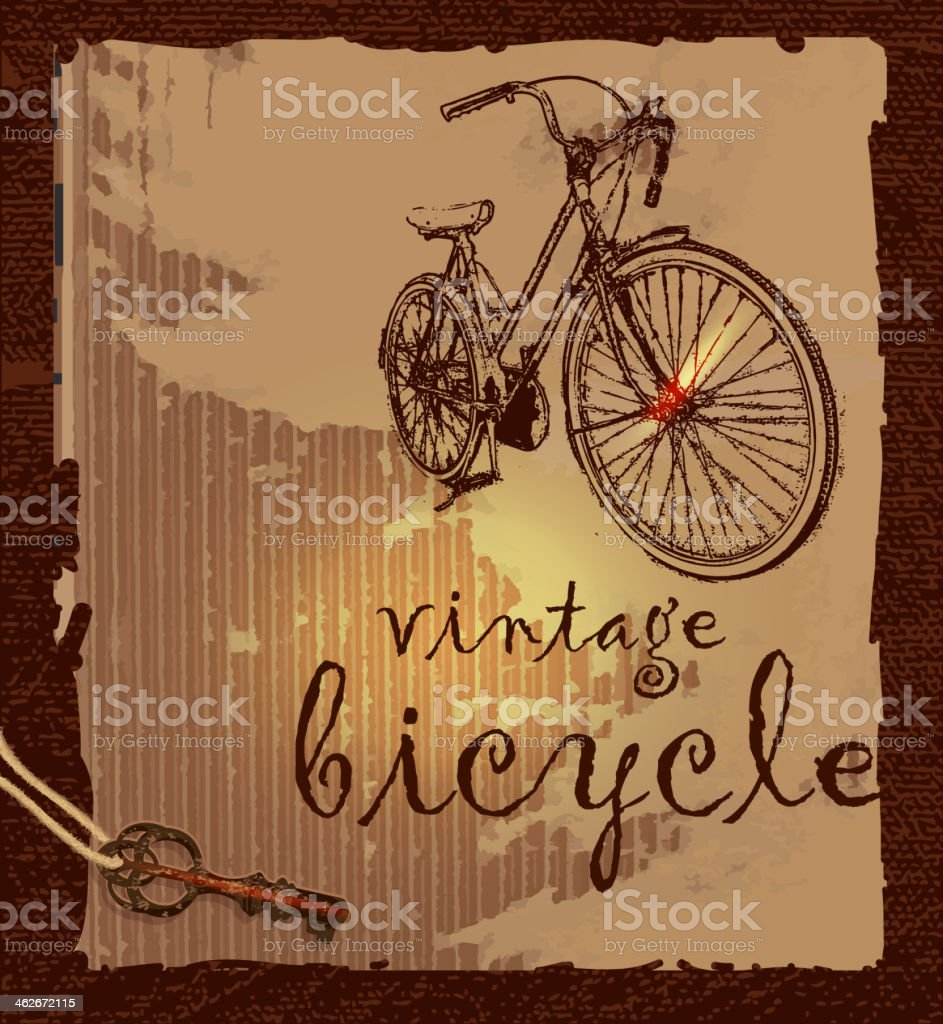 Vintage hipster bicycle scrapbook page template vector art illustration