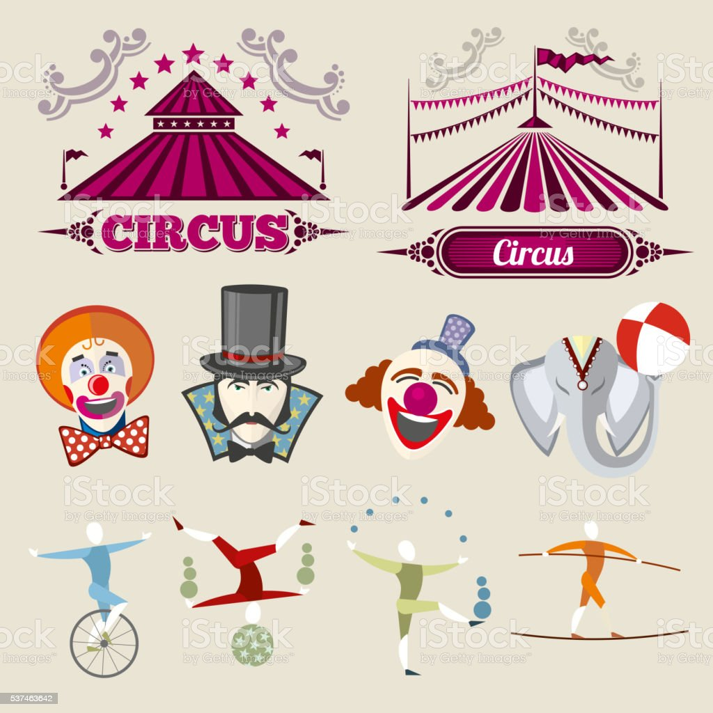 Vintage hipster circus vector set in flat style vector art illustration