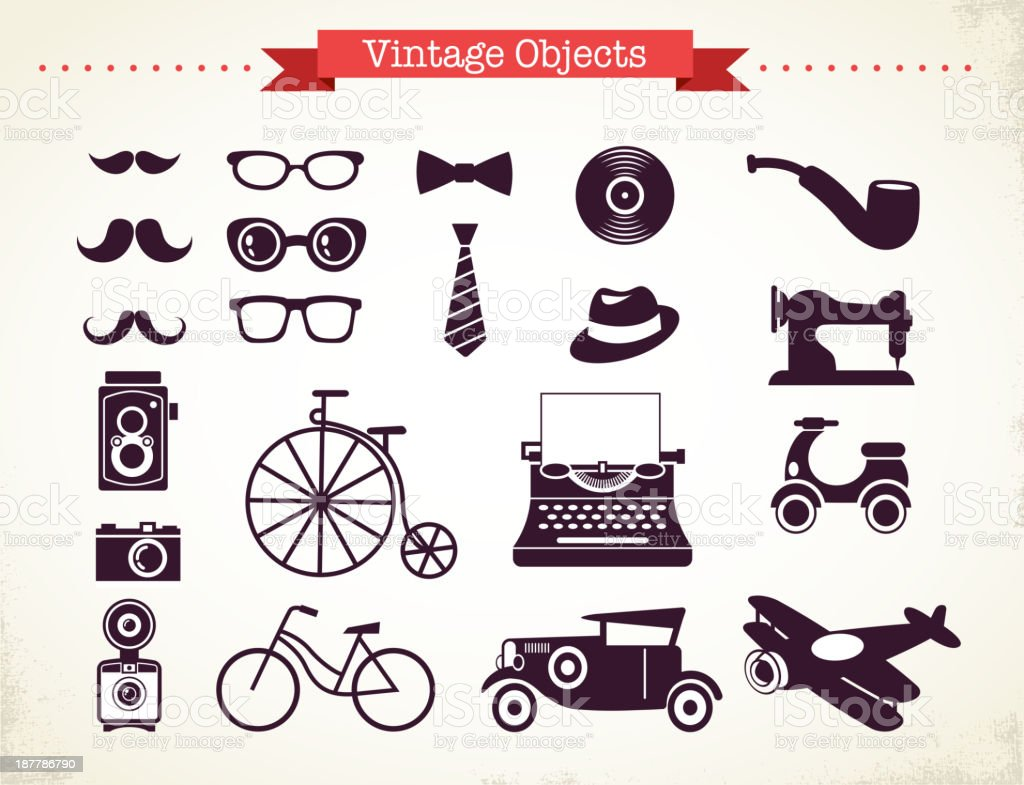 vintage hipster objects collection vector art illustration