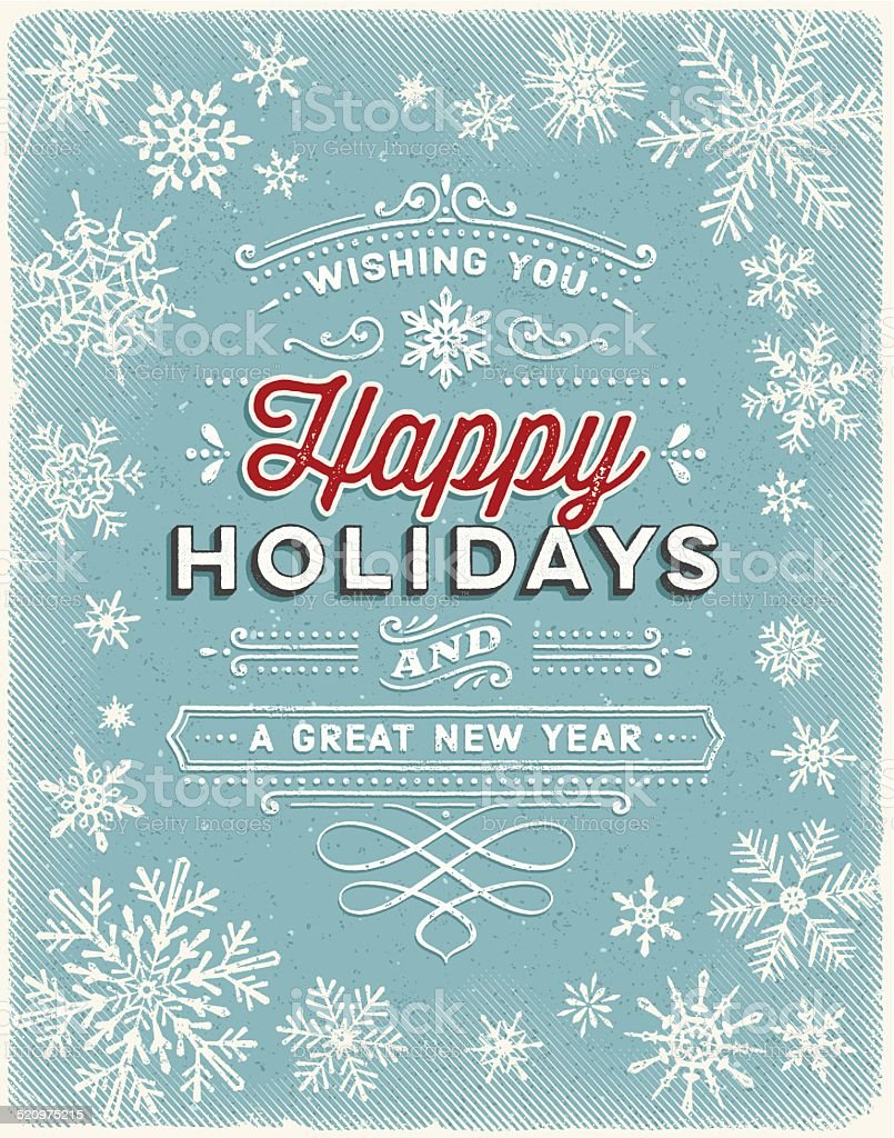 Vintage Holiday Background with Text vector art illustration