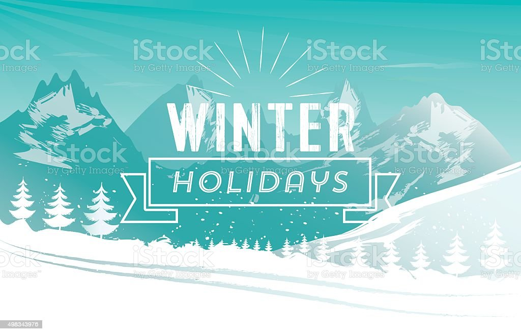 vintage holiday text symbol on snowy winter mountain landscape vector art illustration