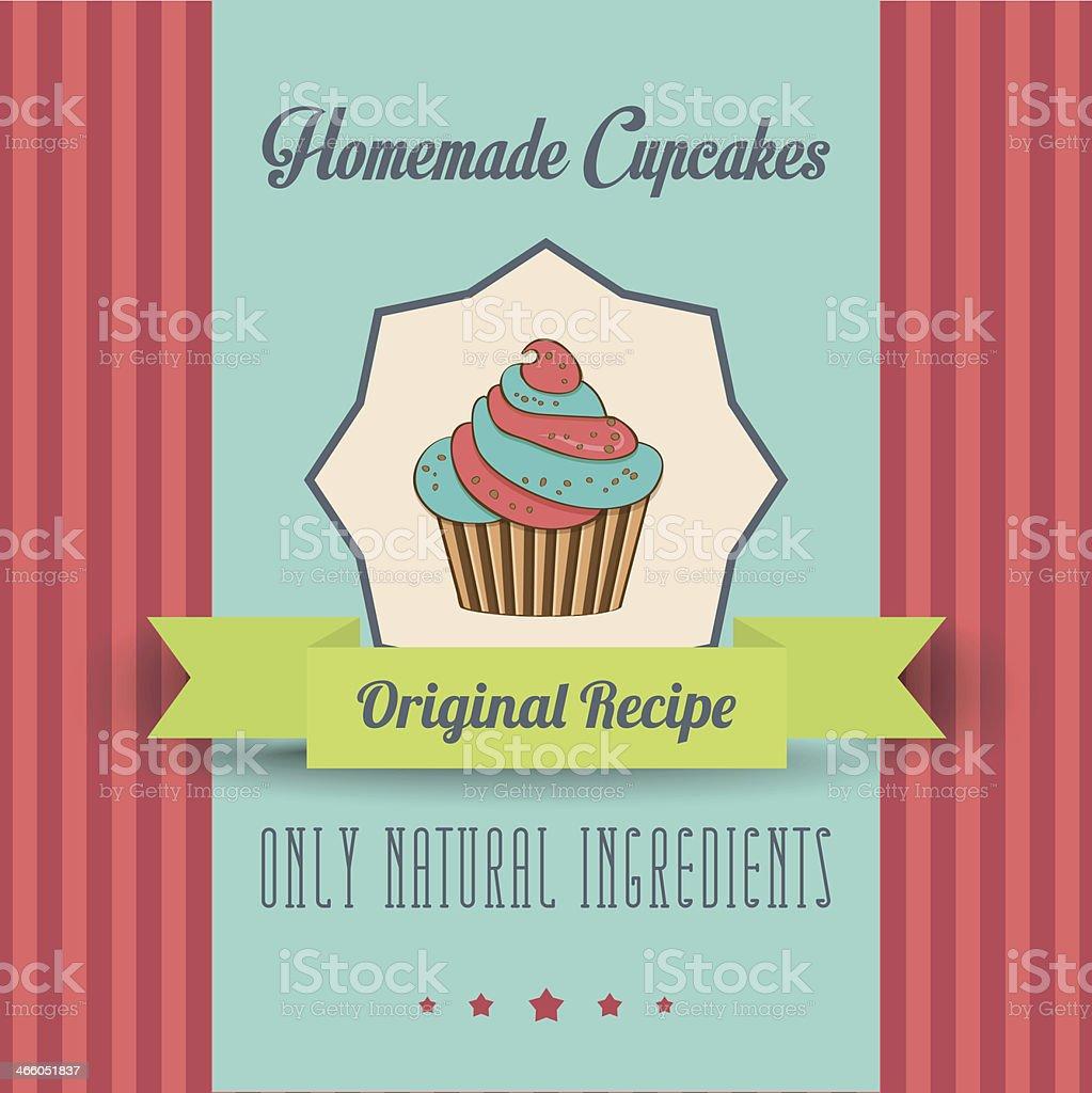 vintage homemade cupcakes poster vector art illustration