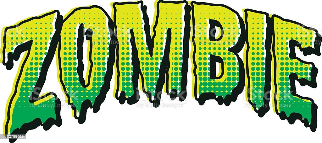 Vintage Horror Comic Book Lettering: ZOMBIE vector art illustration