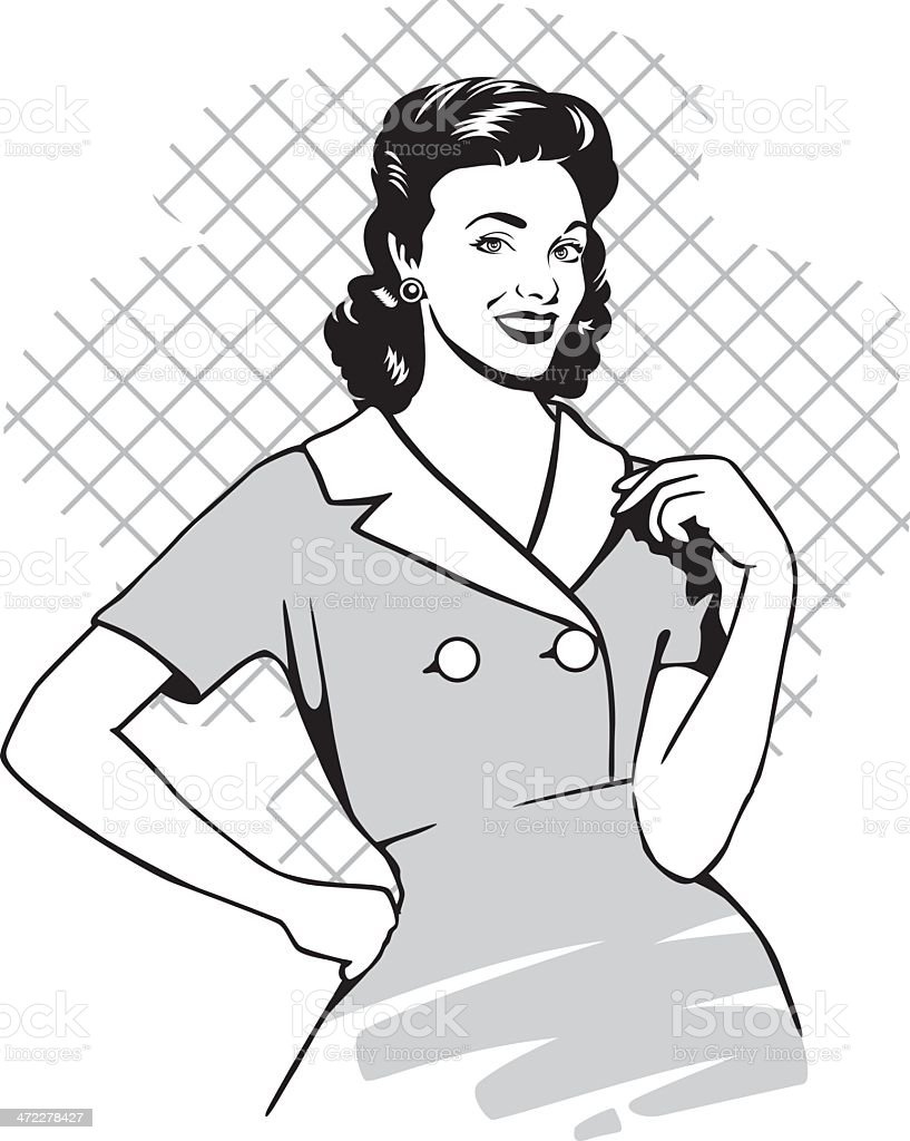 vintage housewife vector art illustration