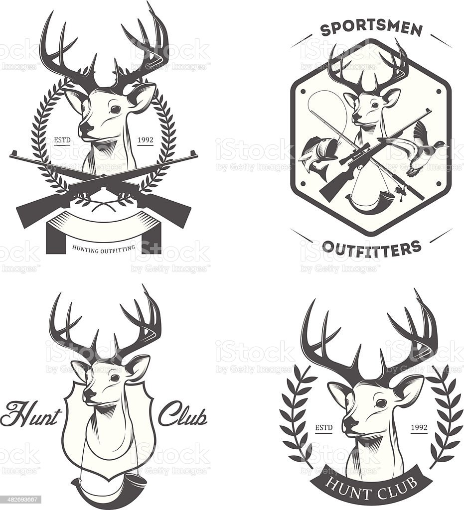 Vintage hunting and fishing labels and badges set vector art illustration