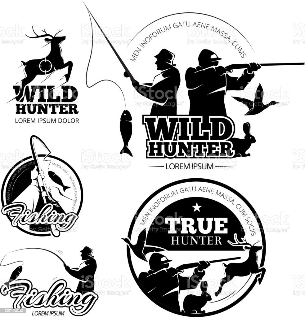 Vintage hunting and fishing vector labels, logos emblems set vector art illustration