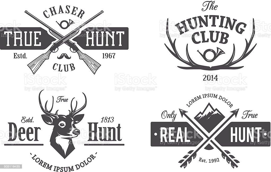 Vintage Hunting Emblems vector art illustration