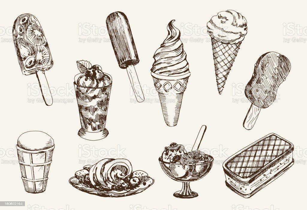Vintage ice cream artwork on cream paper vector art illustration