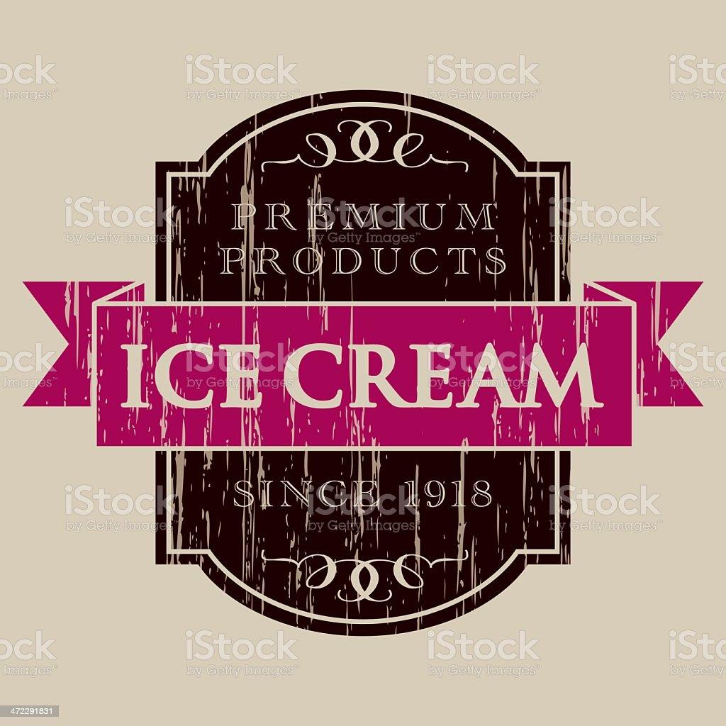 Vintage Ice Cream Label vector art illustration